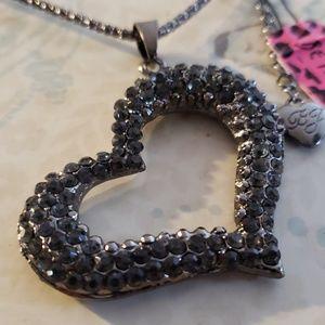 NWT BETSY JOHNSON Black Rhinestone Heart Necklace